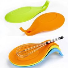Colorful Silicone Spoon Rest Kitchen Insulation Mat Placemat Holder Cooking Tool Pad