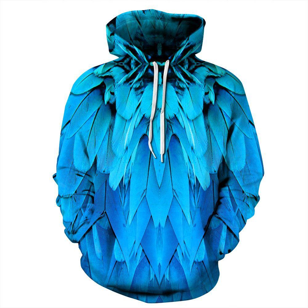 Full Blue Feather Print Hoodies Men Hoodie with Hat Round Neck Loose Sweatshirt Pullover Sudaderas Para Hombre Streetwear