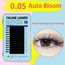 2019 Three Layers Easy Fanning One Second Bloom False Eyelashes Extension Lashes Natural Thick Automatic 0.05 Soft