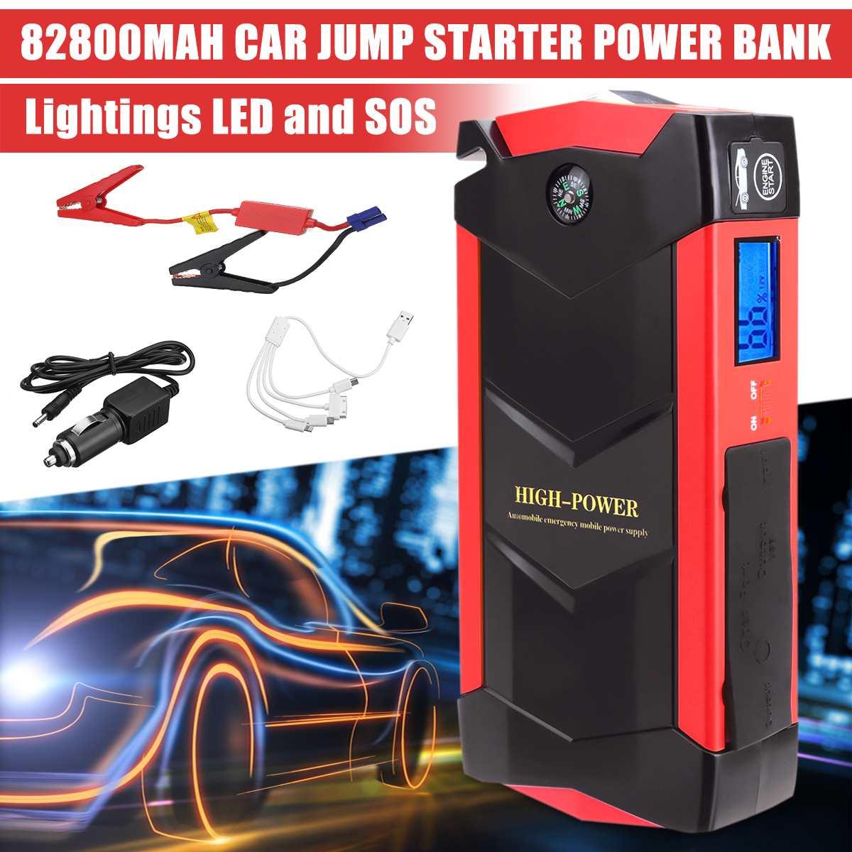 82800 mAh 4 USB 12 V Portable LED d'urgence voiture batterie saut démarreur multifonction batterie externe trousse à outils pour démarrage automatique dispositif