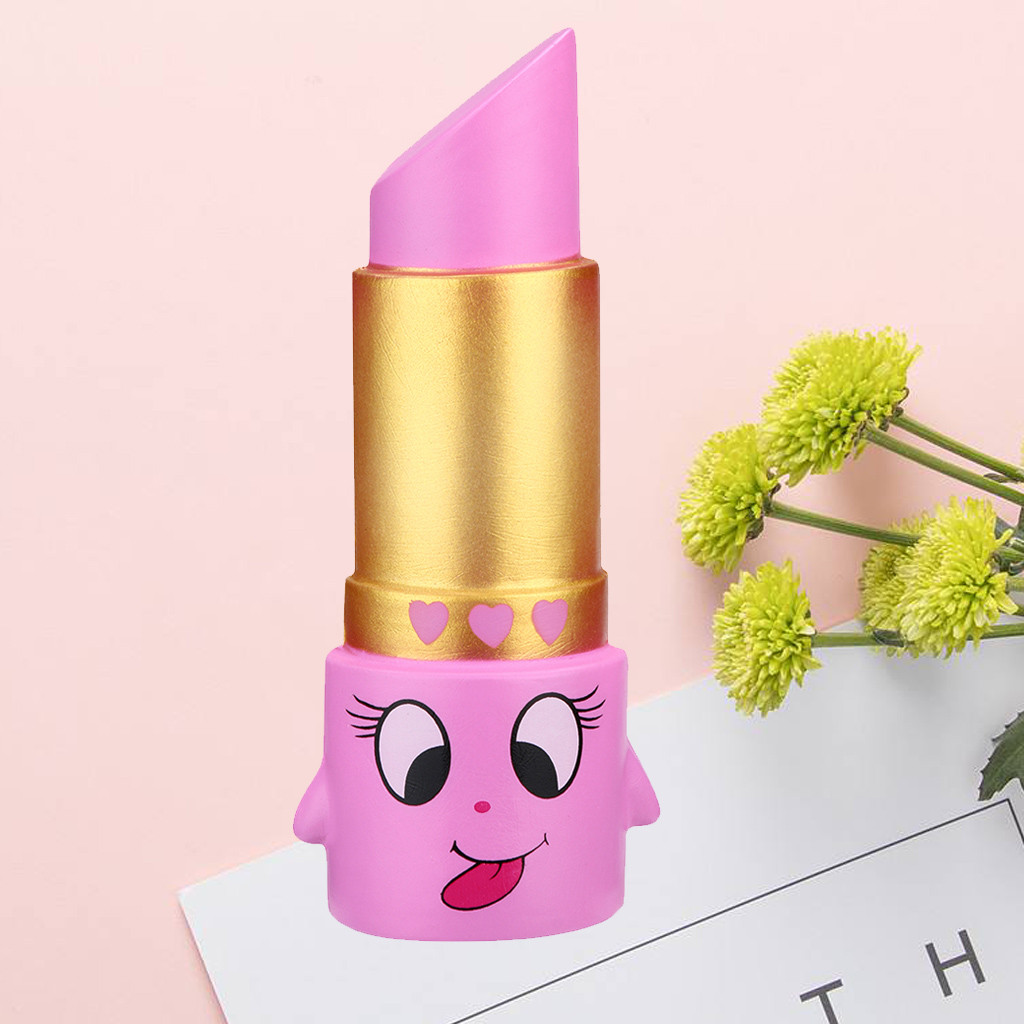 2019 Hot Soft Squishy Lovely Lipstick Slow Rising Squeeze Relieve Stress Toy Squishy Toy For Children Kids Gift Funny Present