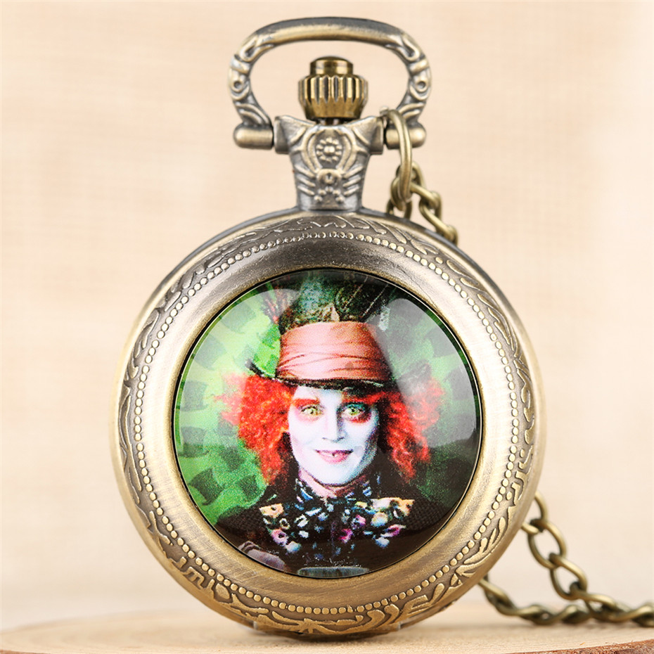 Alice In Wonderland Mad Hatter Quartz Pocket Watch Black/Silver/Bronze Necklace Pendant Clock Gifts For Men Women Children