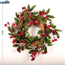 1 шт., модный Рождественский венок с красной ягодкой, подвесная гирлянда для двери, искусственный цветок, рождественские украшения, вечерние украшения для дома