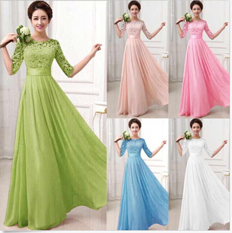 Long Chiffon Dress Elegant A Line O Neck Half Sleeve Wedding Party Gowns Lace Bridesmaid Dresses Robe Demoiselle D'honneur(China)