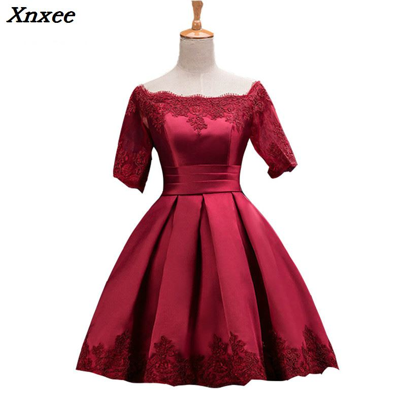 Xnxee The new plus size wine red prom party bride toast suit Off Shoulder dress short