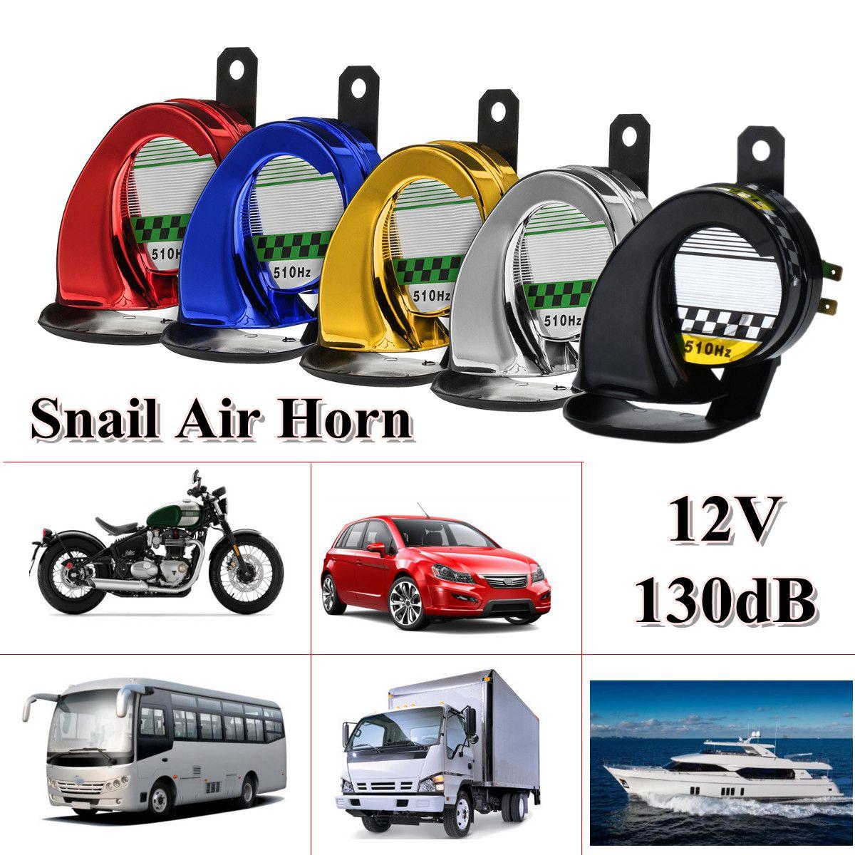Universal 12 v DC Wasserdicht Schnecke Luft Motorrad Horn Sirene Laut 130dB für Lkw Motorrad Rot Gold Blau Silber Schwarz