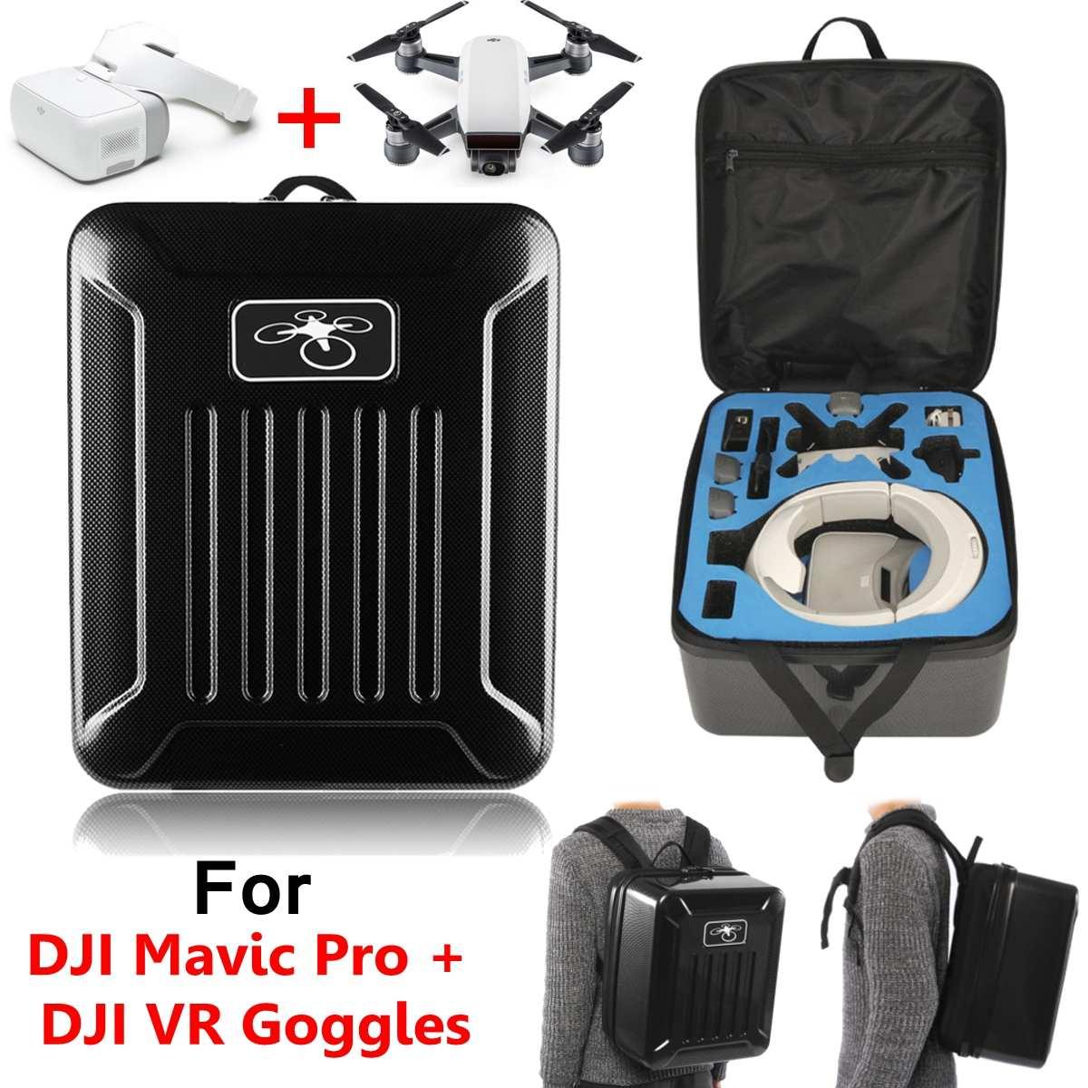 Un grand sac à dos Compatible noir en Fiber de carbone pour lunettes VR DJI Spark ou Mavic Pro EPE et EVA capacité raisonnable