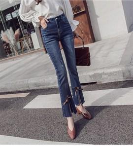 2019 Women High Waist Slim Elasticity Jean Summer Casual Ankle-Length Flare Pants Fashion Denim Bow Trousers