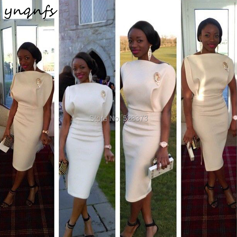 YNQNFS C8 Chic Satin Sheath Side Slit Vestido De Festa Robe Cocktail Party Tea Length White Mother Of The Bride Dresses 2019