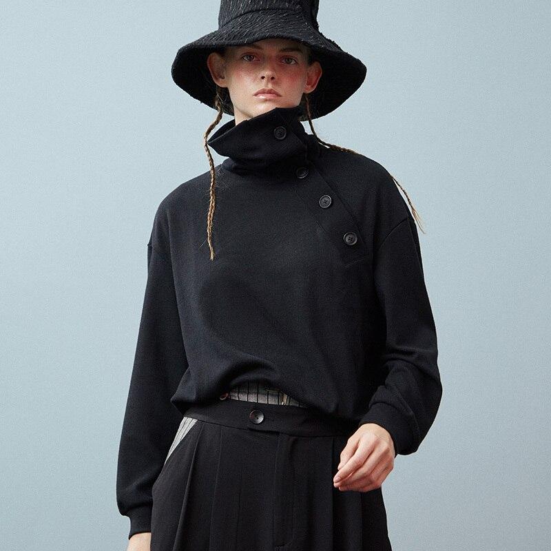 Tout Bouton À Couleur Col Ld791 Noir eam Sweat allumette Asymétrie Pulls Black Printemps Roulé Longues Tricoter 2019 Manches Femme gPfRq