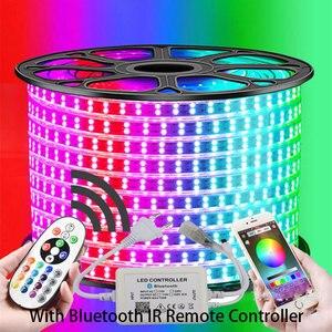 Image 4 - 13 30メートル複列のrgb ledストリップ96leds/m 5050 220vカラーチェンジライトテープIP67防水ledロープライト + ir bluetooth制御