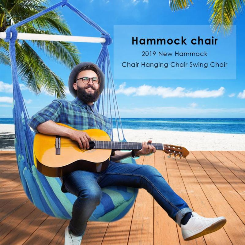 Image 3 - Indoor Outdoor Garden Hammock Hanging Rope Chair Swing Chair Seat with 2 Pillows Travel Camping Hammock Swing BedGarden Chairs   -