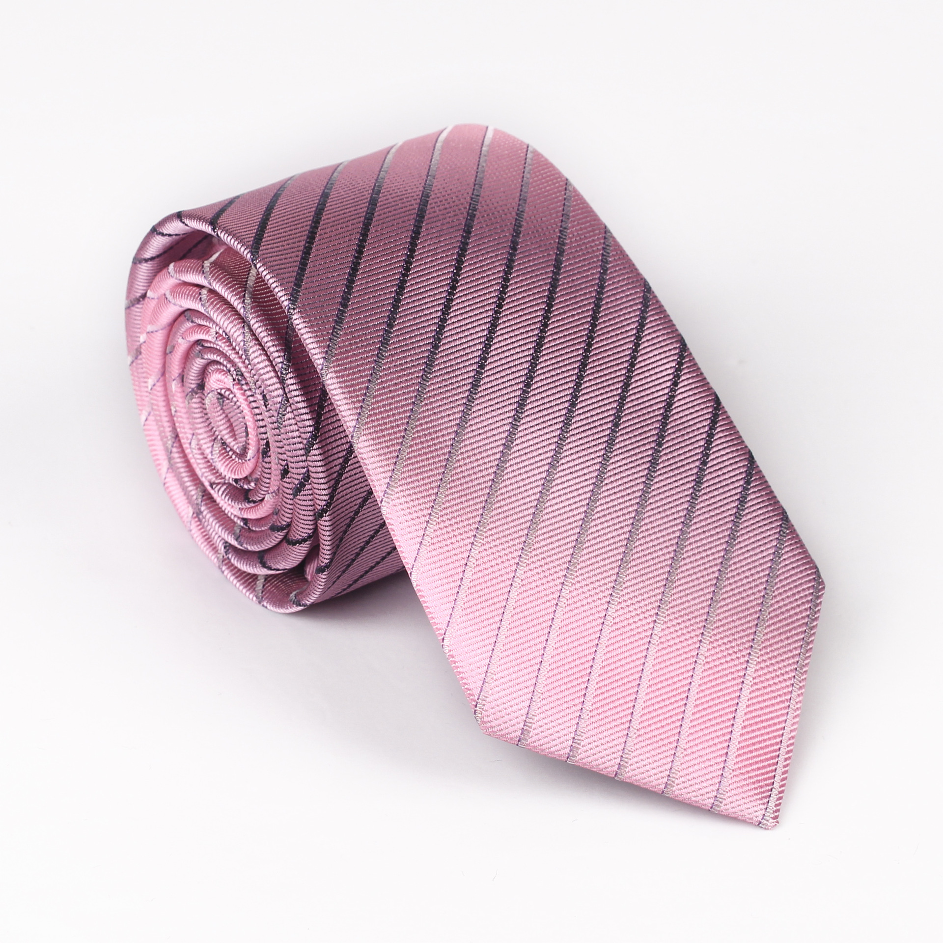 Spot A Generation Of Tie Men's 6cm Diagonal Stripes Tie Dress Polyester Silk Jacquard Business Narrow Tie Male
