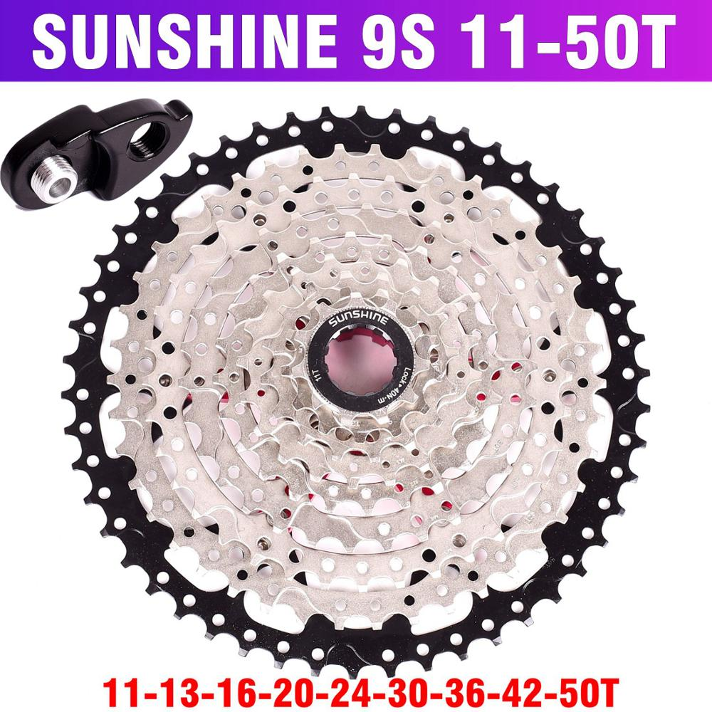 SUNSHINE MTB Mountain Bicycle 9S Cassette Freewheel 9speeds Flywheel Crankset Bicycle Parts With Threaded 11-32T36T40T42T50T