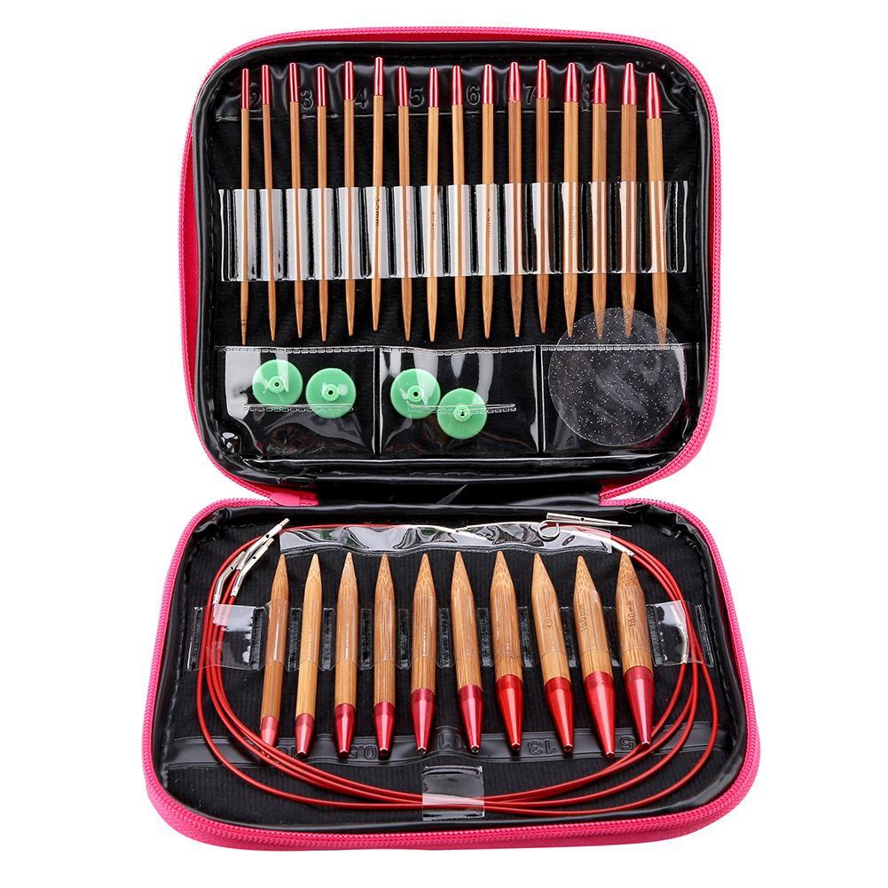 Interchangeable Carbonized Bamboo Needles Set Aluminum Circular Knitting Needles Ring Set