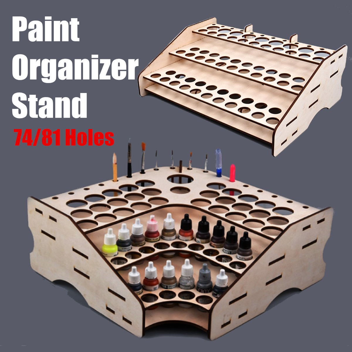 3 Layers Wooden Pigment Bottle Storage Organizer 74/81 Bottles Color Paint Ink Brush Stand Rack Modular Holder Home School