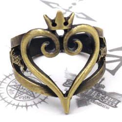 Игры аниме Королевство кольцо с сердцем Бронзовый металлическое кольцо аксессуары к костюму для Косплей сборные кольца подарок 18 мм