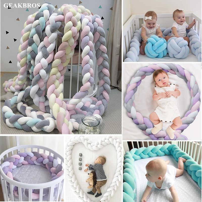 1 M/2 M/3 M Bebê Berço Cama Pára Atada Trançado de Pelúcia Berço Do Berçário Decor Bebê Recém-nascido almofada travesseiro Cama Junior Sono Bumper
