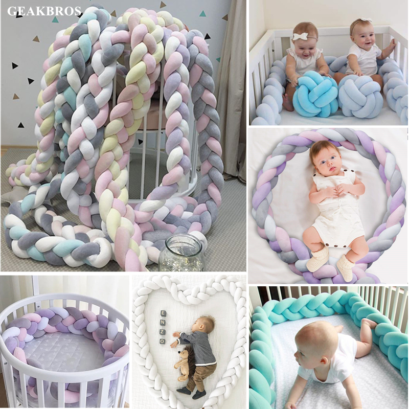 1M/2M/3M Baby Crib Bed Bumper Knotted Braided Plush Nursery Cradle Decor Newborn Infant Pillow Cushion Junior Bed Sleep Bumper