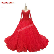 Red Evening Dresses Ball Gown Prom Dress Long Sleeves