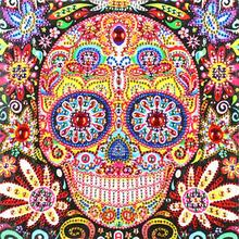 5D DIY Special Shaped Diamond Painting Color Skull Cross Stitch Embroidery Home Wall Decoration