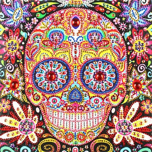 5D DIY Özel Şekilli Elmas Boyama Renk Kafatası Çapraz Dikiş Nakış 5D DIY Boyama Ev Duvar Dekorasyon
