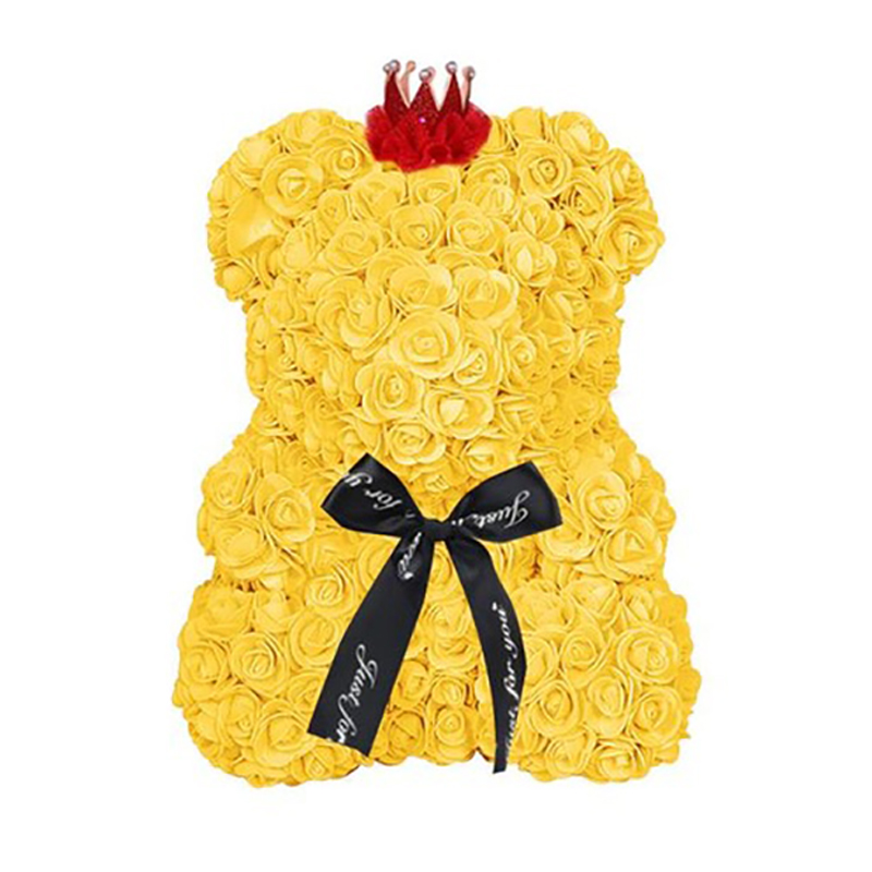 Romantic 25cm Bear Of Roses Flowers Teddy Bear With Crown Wedding Festival Diy Surprise Wedding Gift For Girl Lover Bright In Colour Home & Garden