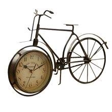 Reloj de mesa Vintage de hierro para bicicleta, Reloj clásico decorativo Retro silencioso sin tictac para sala de estar, sala de estudio, cafetería B