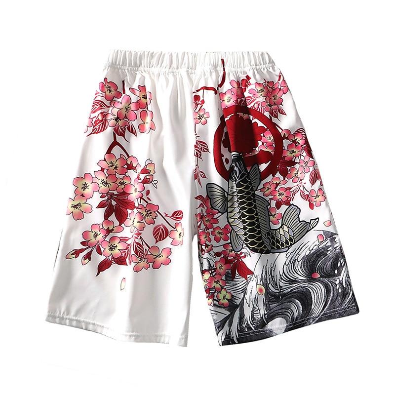Shorts Men Streetwear Loose Vintage Japan-Style Beach 3d-Printed Quick-Dry Summer Casual