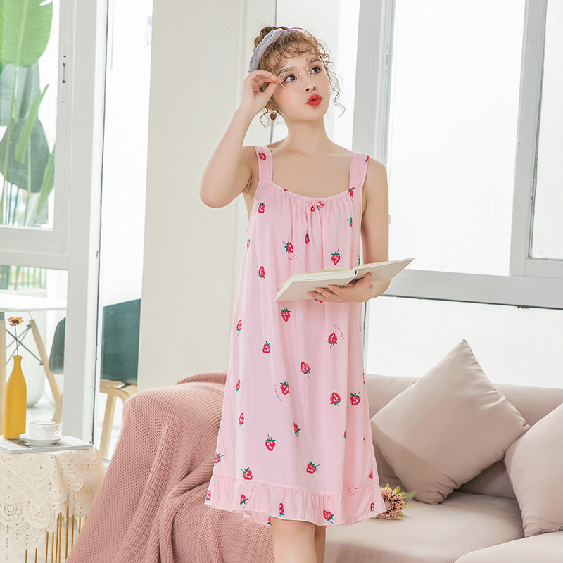 2019 Summer Print Sleeveless Cute Nightdress For Women Cotton Sexy Nightshirts Flamingo Nightgowns Female Sleepshirts in Nightgowns Sleepshirts from Underwear Sleepwears