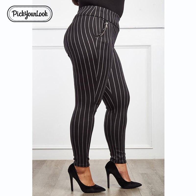 Pickyourlook Women Leggings Plus Size Striped Fashion Elastic Female Legging Pants Large Size Skinny Black White Zipper Pants