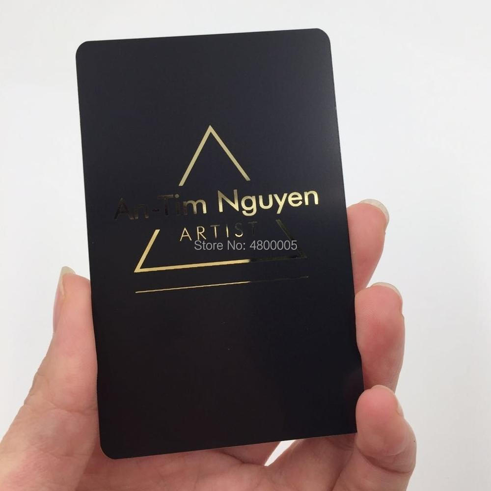 85*54*0.8mm  Beautiful Plated Black Metal Business Card Silk Printing Gold Words Metal Card