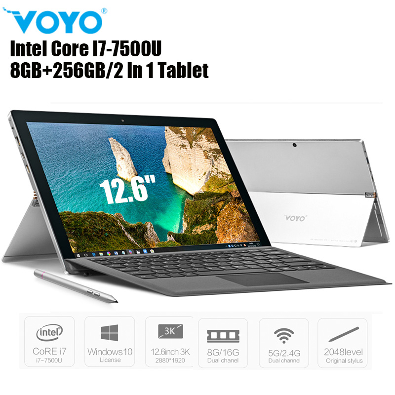 VOYO VBOOK I7 Plus 2 In 1 Tablet PC 8GB+256GB 12.6'' Windows 10 Intel Core I7-7500U 2.7GHz Dual WiFi 5MP Notebook PC Type-C