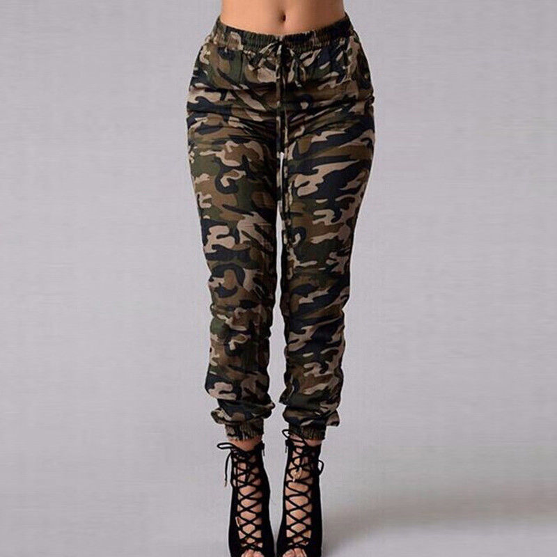2019 New Stylish Women Camouflage Pants Camo Cargo Joggers Military Army Harem Trousers 3