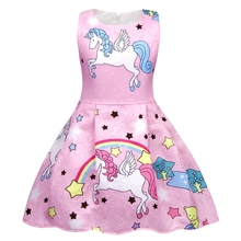 AmzBarley  Girls Rainbow Unicorn Dress Sleeveless Birthday Party Theme Party Dresses Toddler Pleated Outfits summer Clothes цена и фото
