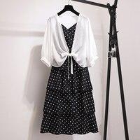Random Women Suits Casual Chiffon Shirt+Polka dot Dress Blouse 2 piece Dress Sets 2019 Summer Dress Suit Twin Sets Plus Size