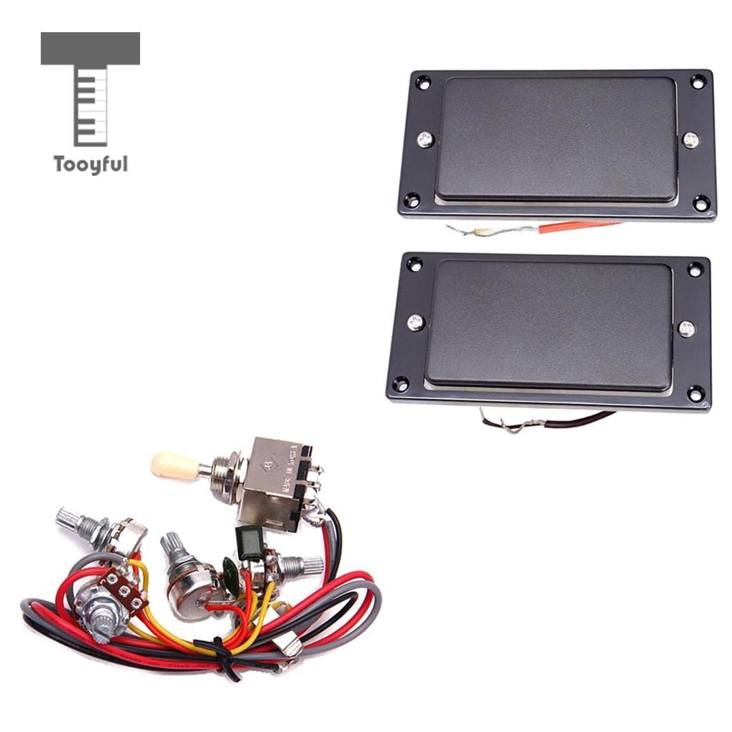 Sealed Guitar Humbucker Pickup Set+Circuit Wiring 2V/2T/1J For LP Electric Guitar