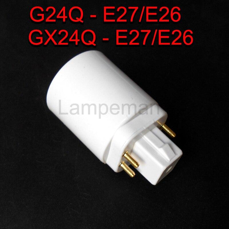 ABS LED G24 к E27 гнездо адаптера галогенная gx24q CFL лампа база конвертер e27 к g24 держатель лампы адаптер 4pin 85-265 в