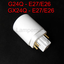 ABS LED G24 to E27 Adapter Socket Halogen gx24q CFL Light Lamp base converter e27 to g24 bulb holder adapter 4pin 85-265V
