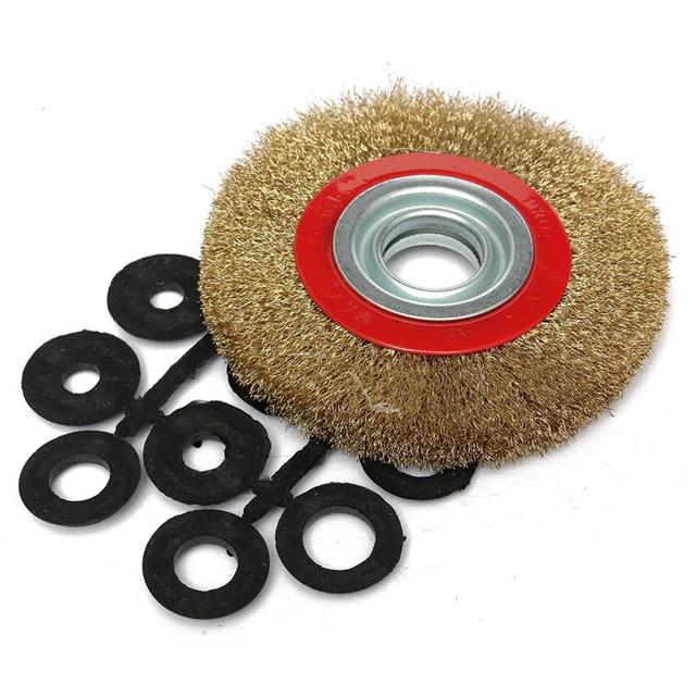 HLZS 1Pcs 8 Inch 200mm Steel Flat Wire Wheel Brush with 10pcs Adaptor Rings For Bench Grinder Polish