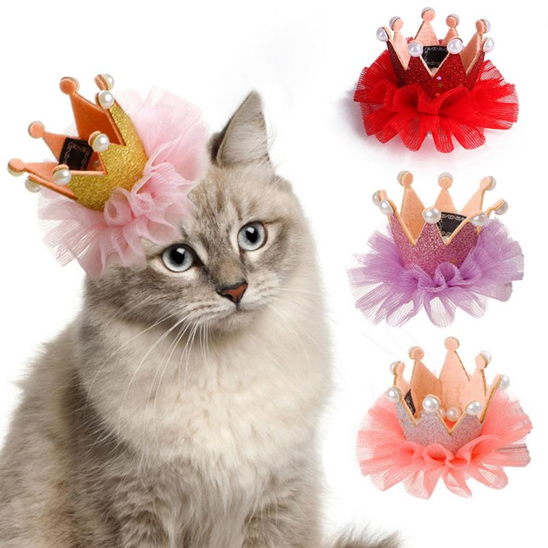 Pet Dogs Cat Headdress Hairpin Laced Crown Hair Clips Hat Crown Lace Headgear For Cat Dog Puppy Birthday Grooming Accessories