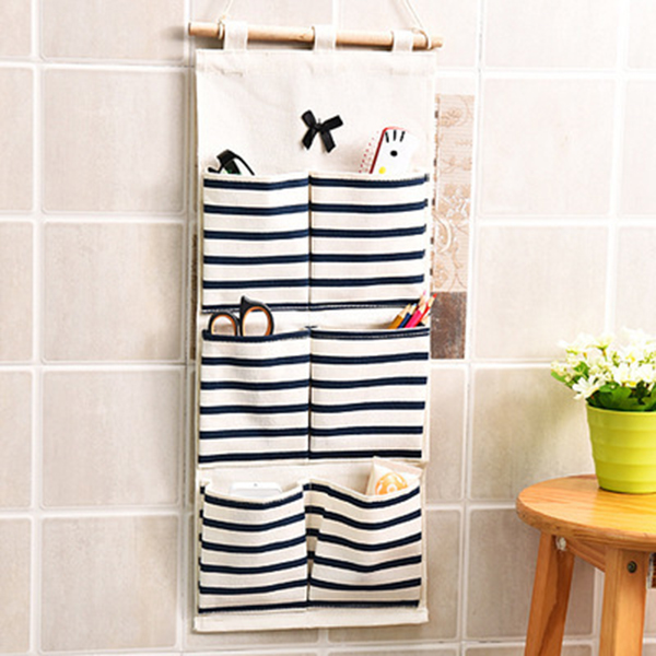 Multi-pockets Striped Wall Hanging Linen Cotton Storage Bag Bathroom Shelf Pouch E2S