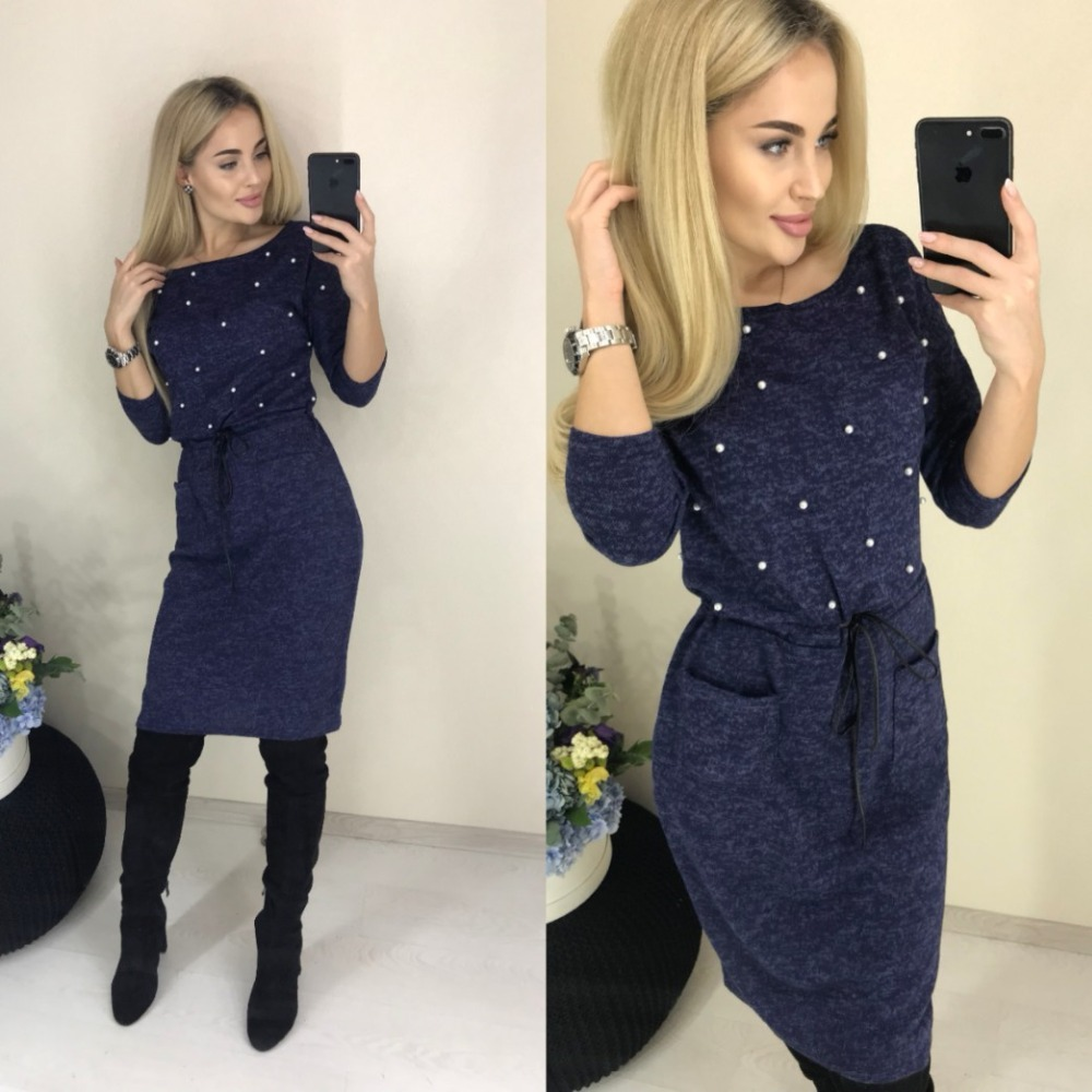 Hot  Women Spring Winter Colors Cotton Dress Beading Knee-length Sheath Casual Elegant Long Sleeve Oneck Pockets Office Dresse