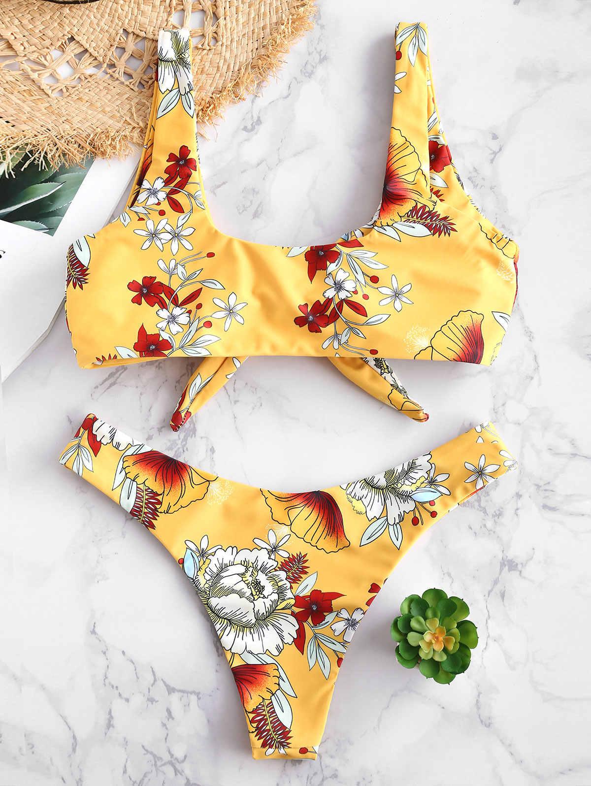 ZAFUL damski strój kąpielowy Sexy Bikini strój kąpielowy Sexy kobiety Bikini zestaw kwiatowy Print wyściełane stroje kąpielowe strój kąpielowy kostiumy kąpielowe