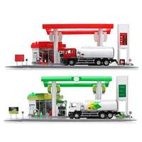 Brand New Model Toys Gas Petrol Service Station with 1:64 Diecast Toy Car Miniature Replica Playset