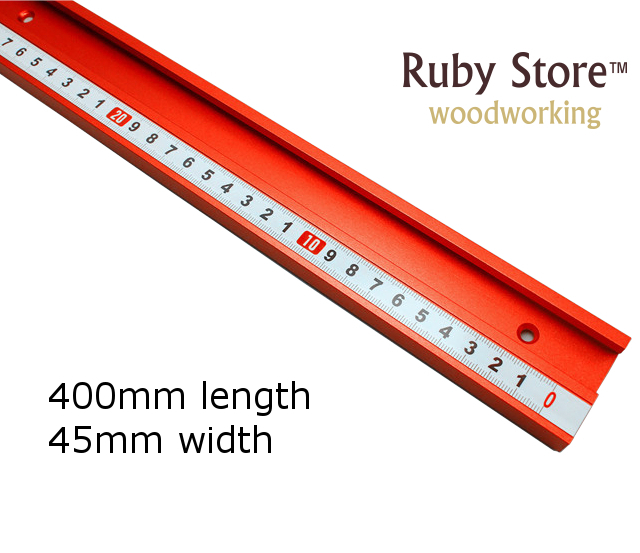 400mm Standard Aluminium T-track 45mm Width with Self Adhesive Metric Scale