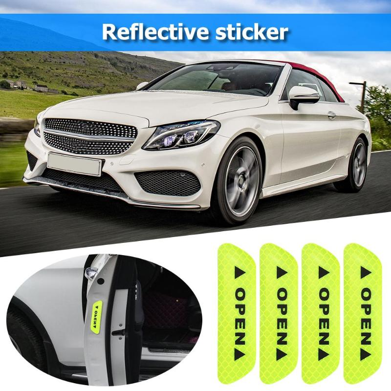 4 Pcs Car Door Stickers Universal Safety Warning Mark OPEN High Reflective Tape Motorcycle Bike Helmet Sticker