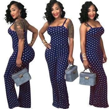 2019 Women Ladies Clubwear Summer Playsuit Jumpsuit Romper Long Pants Polka Dots Party Trousers Plus Size 6