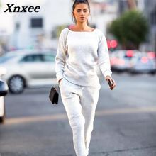 Xnxee New fashion Womens Autumn winter  Knitted Suit O neck Sweater Women Two-Piece Set knit