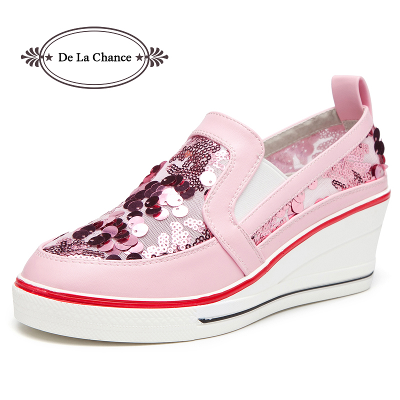 Spring New Designer Brand Wedge Heel Sequin Bling Glitter Pink Platform Sneakers Women Casual Shoes Female Ladies Shoes Woman